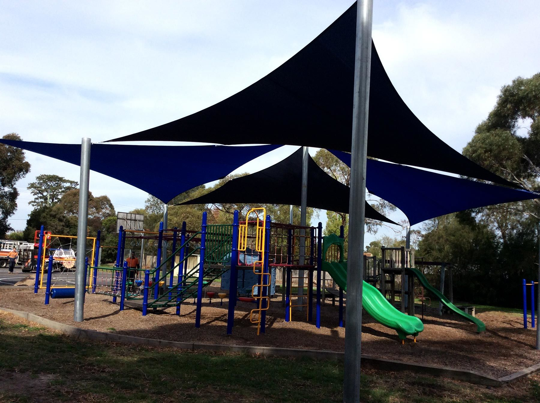 multiple large sails covering playground in mornington