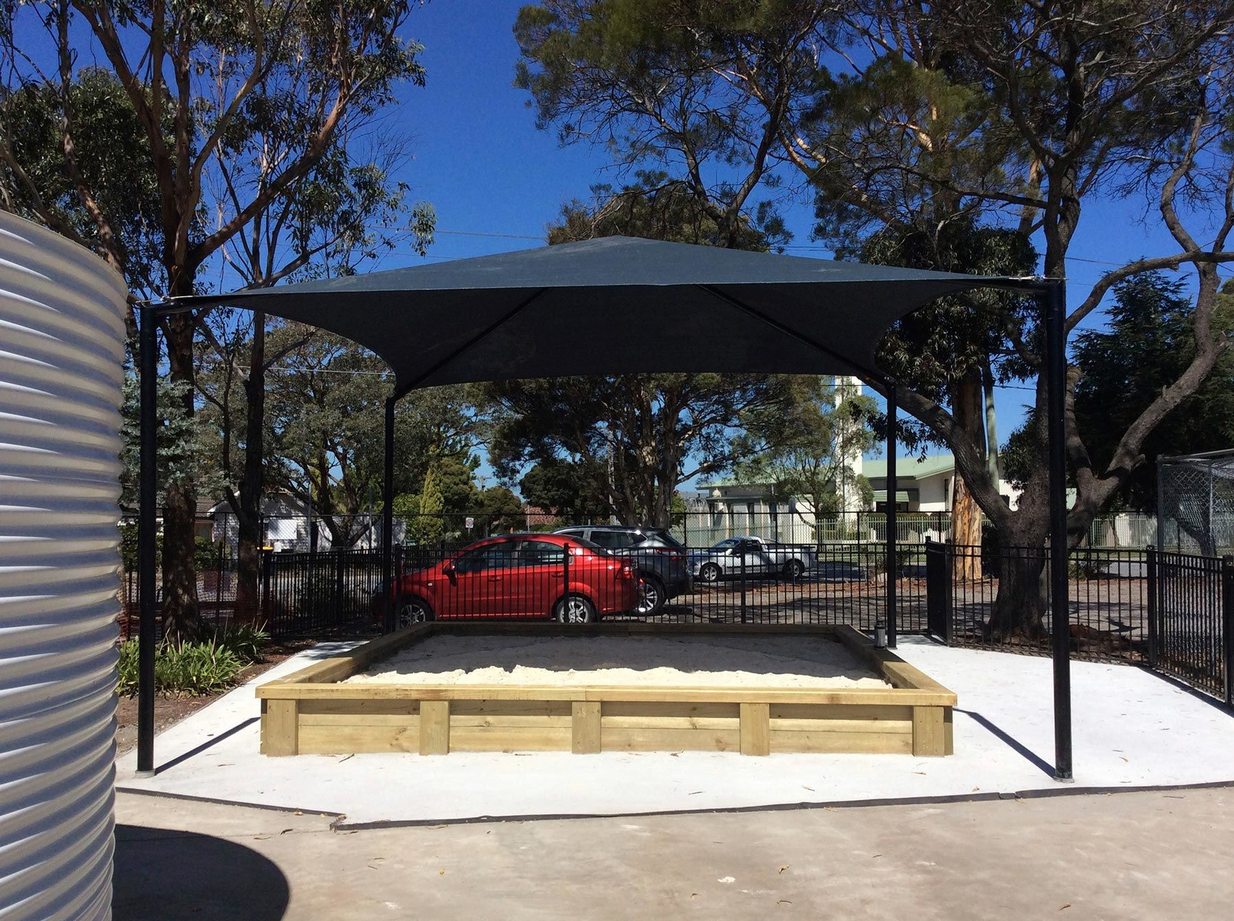 sand pit shade sail structure